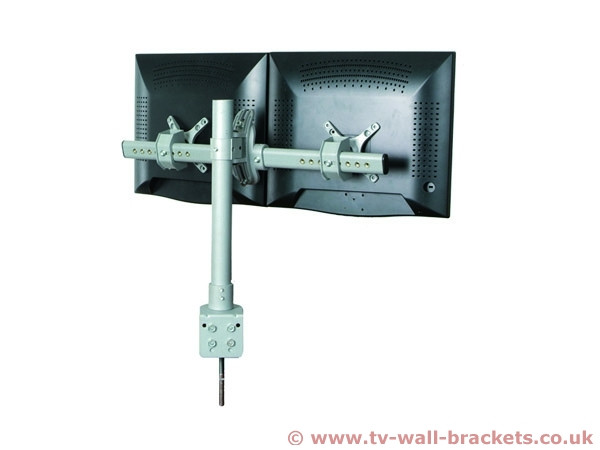 An image of Dual Monitor Fixed Arm Desk Bracket