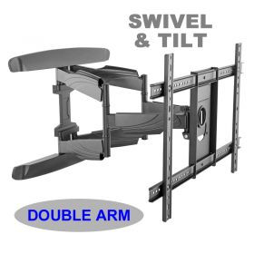 "An image of Double arm. Swivel & tilt . TVs up to 70"". Max VESA 600x400"