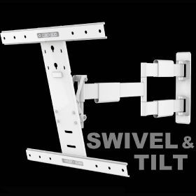 "An image of White swivel & tilt. TVs up to 60"". Max VESA 400x400"
